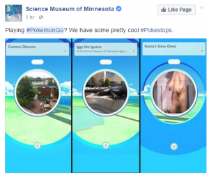This Science Museum promotes it's multiple Pokestops.