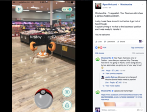 Woolworths takes advantage of the opportunity to talk to players on Facebook.