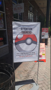 This bar is offering discounts to customers that place a lure for other trainers.