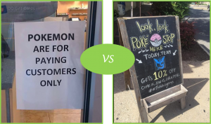 In this example, one business pushes customers away, while another offers dicounts to Team Mystic #GoBlue