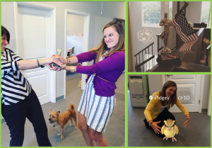 In this photo collage, we see Melanie fighting our May 2016 WBP winner for possession of the coveted trophy, along with her patriotic WBP trophy display. She also welcomes a Pidgey to our office with open arms. She's cool like that.